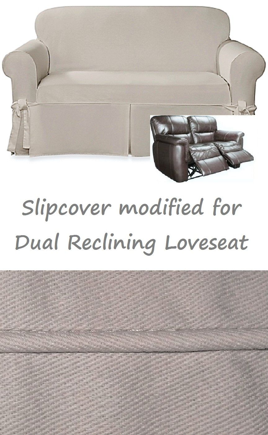 Sofa With Recliners Slipcover Gray Cotton Dual Reclining Loveseat Farmhouse Twill Taupe Sure Fit Adapted For Recliner Love Seat