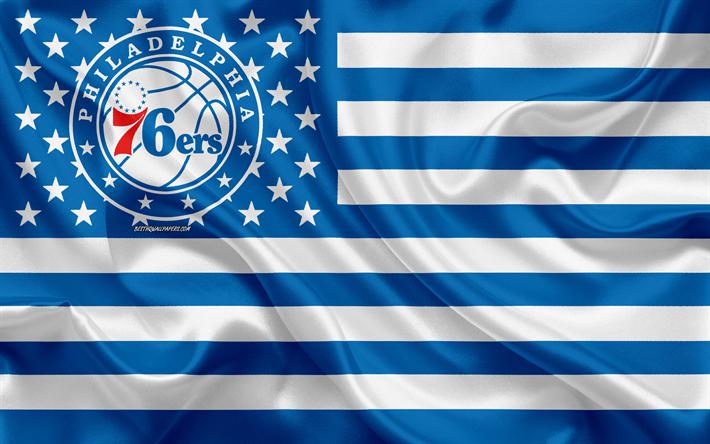 Download Wallpapers Philadelphia 76ers American Basketball Club American Creative Flag White Blue Flag Nba Philadelphia Pennsylvania Usa Logo Emblem S Philadelphia 76ers National Basketball Association 76ers