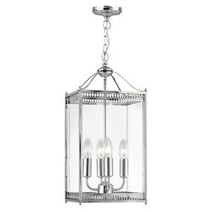 Large Square Lantern Polished Chrome With Clear Glass Panels Pendant Ceiling Light Hou Lantern Ceiling Lights Antique Ceiling Lights Ceiling Light Fittings