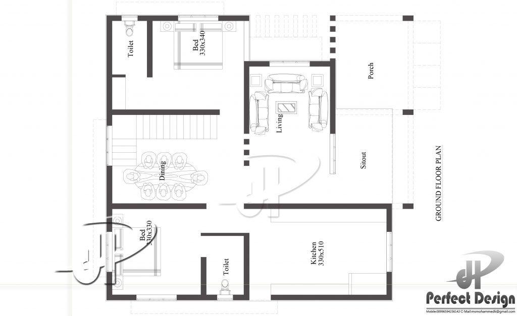1033 Square Feet 2 Bedroom Single Floor Modern Home Design ...