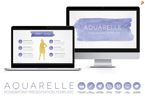 Check Out Aquarelle Powerpoint Template By Blixa  Studios On