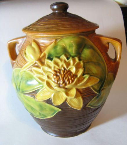 RARE Vintage Roseville Water Lily Cookie Jar with Lid in Brown Gold | eBay