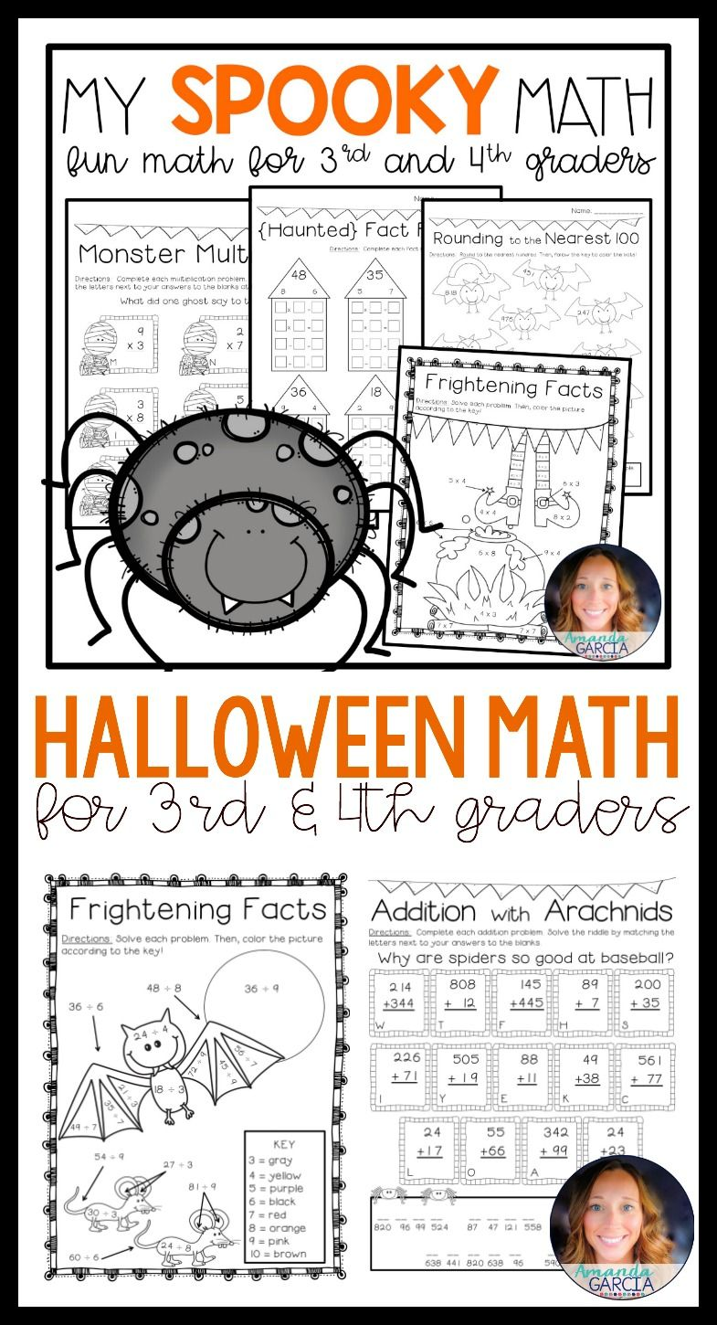 Make October math centers even more fun for your 3rd and 4th grade students  with this Halloween math pack! My Spooky…   Halloween math [ 1450 x 785 Pixel ]
