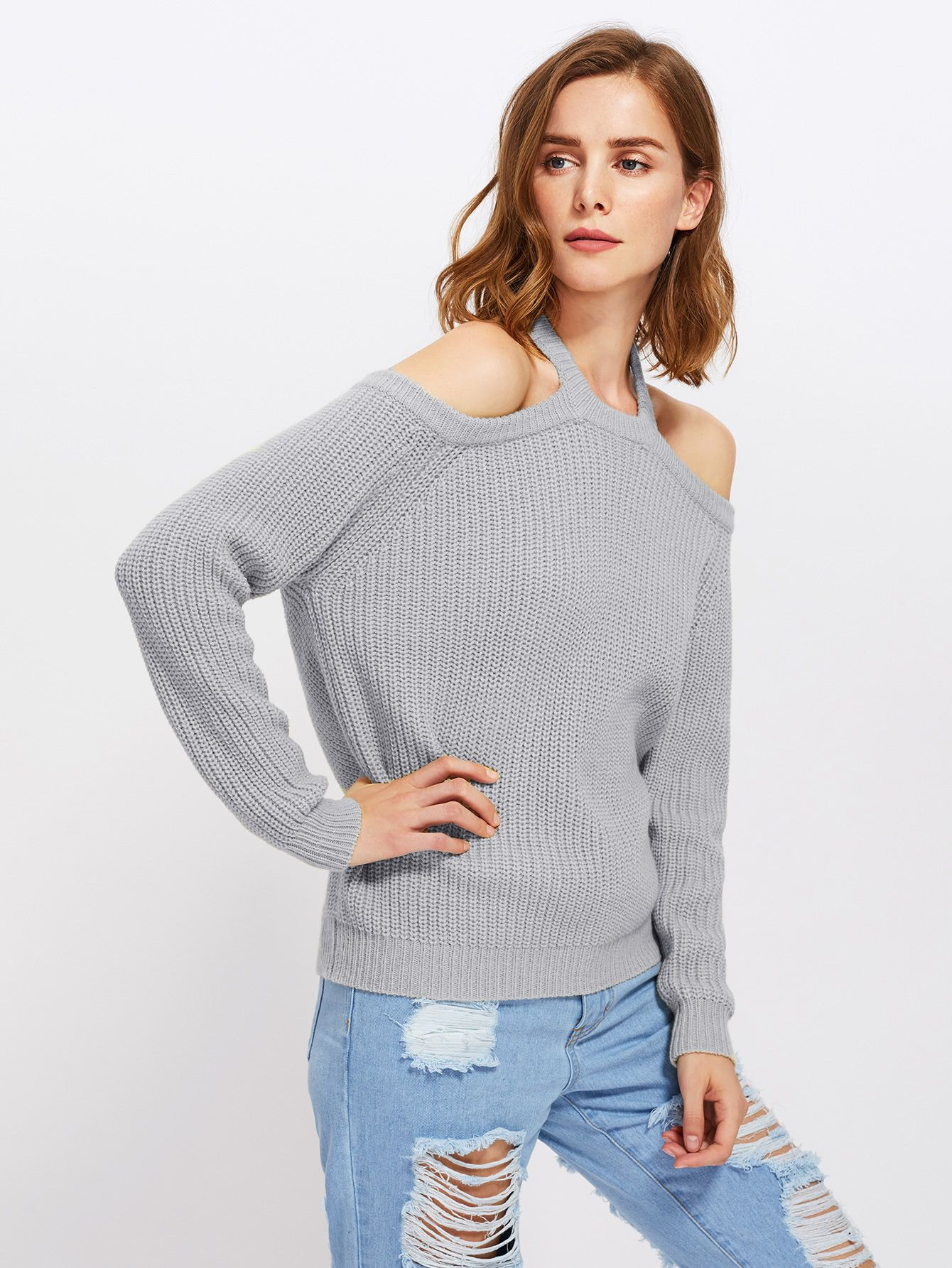 b9690cf2a93 Halter Off Shoulder Jumper Factory - Shantou ZQ Sweater Factory - a ...
