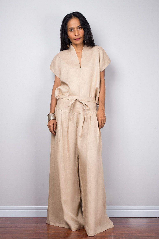 081f07801ed6 Handmade natural linen long wide leg palazzo pants. Beige high waist ...