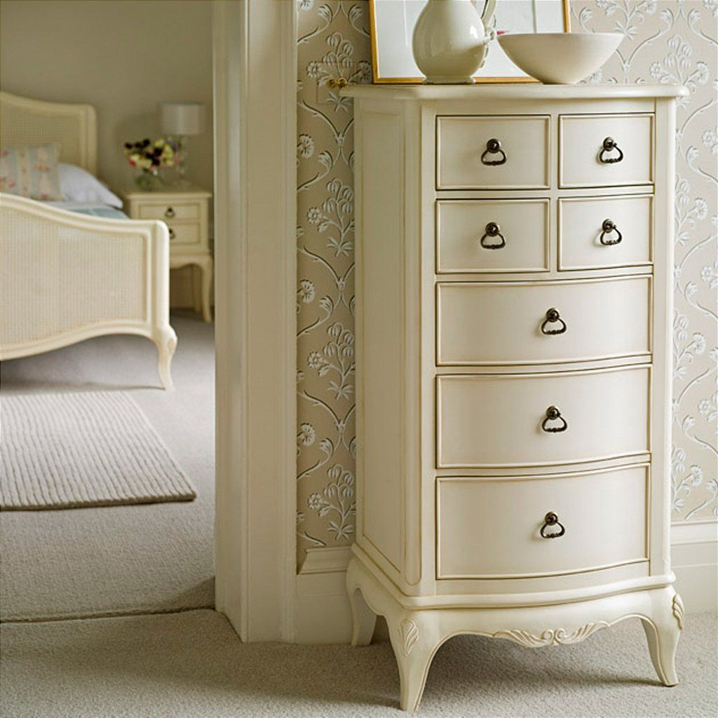 Furniture grey wooden tall narrow dresser with five 1039