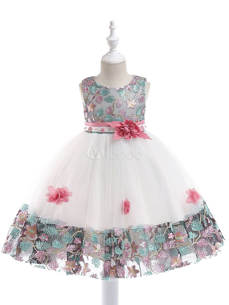 New Sleeveless Girls Dress A-line Flower Embroidery Birthday Party Kids Clothes