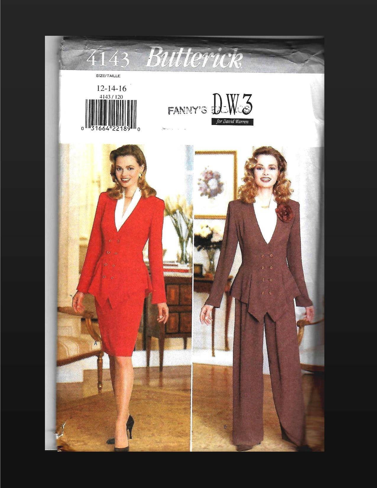 Butterick 4143 Top Skirt Pants Suit Pattern Misses Size 12 14 16
