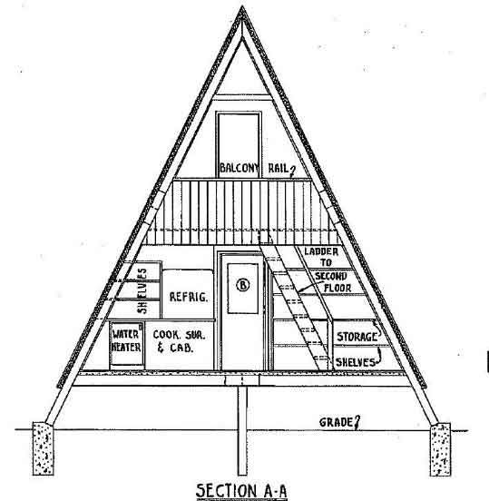 A-Frame Cabin Plan 36 feet High