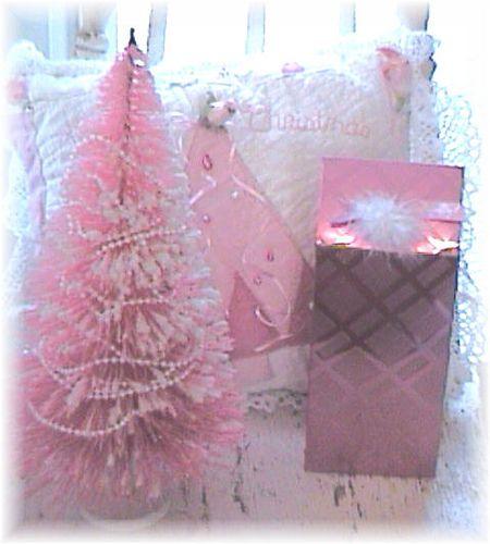 Vintage Pink Bottle Brush Christmas Tree ~ Shabby Pink bottle