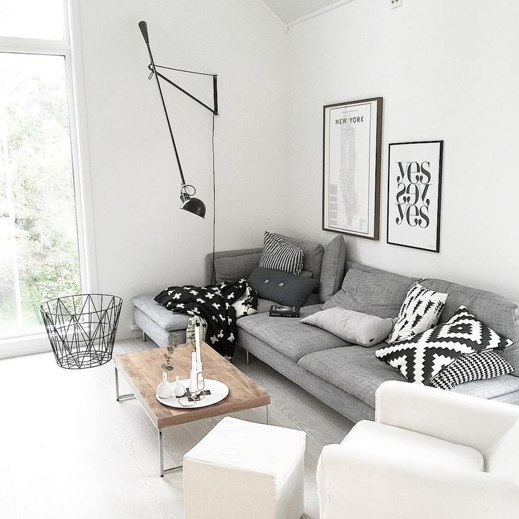 Modern Scandinavian Living Room In Calming Monochrome With A Wood Table For  A Little Warmth. I Think Thatu0027s Ikeau0027s Söderhamn Sofa Or It Looks Quite  Similar.