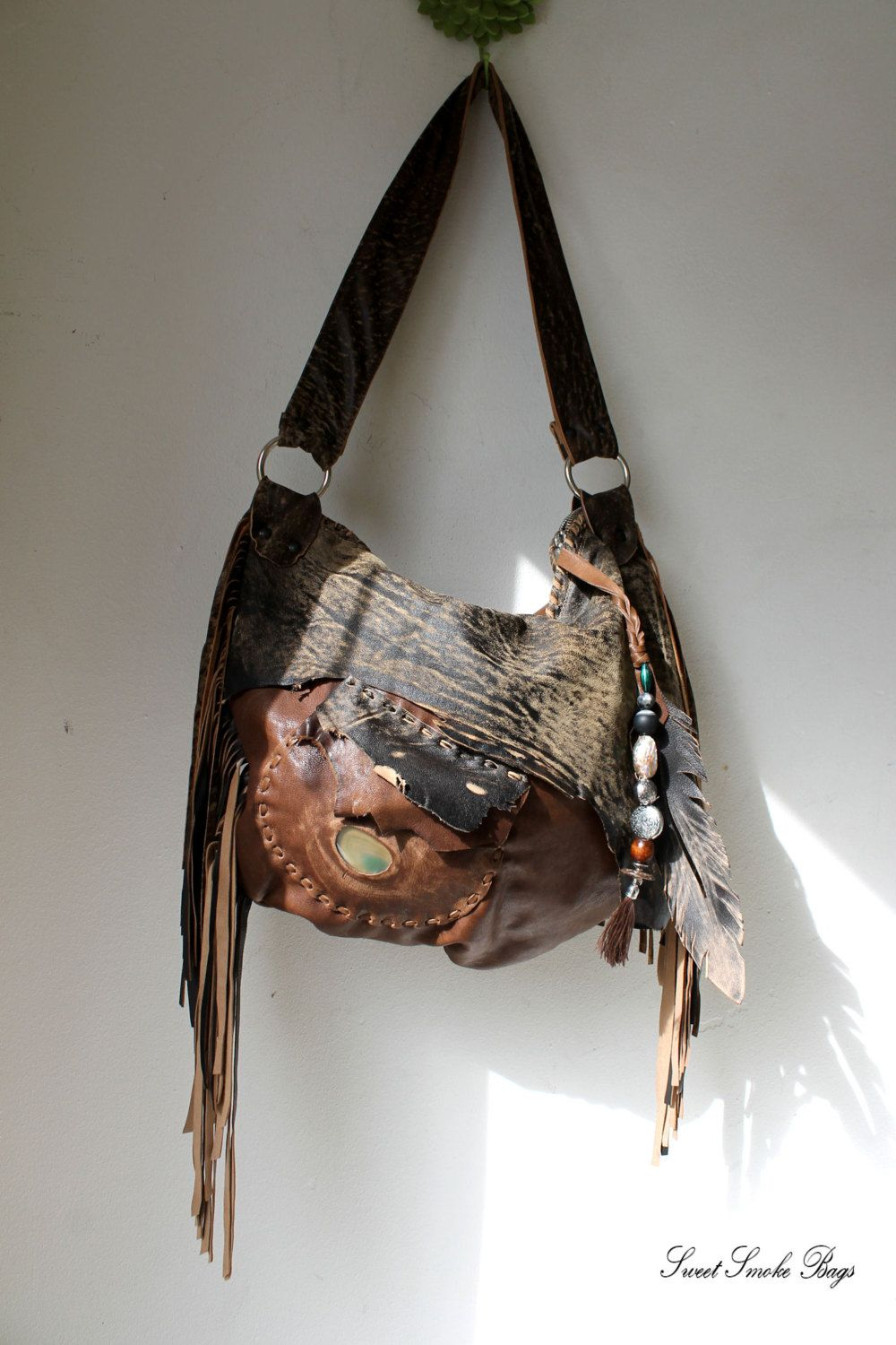 Distressed tribal brown chocolate leather fringe by SweetSmokebags