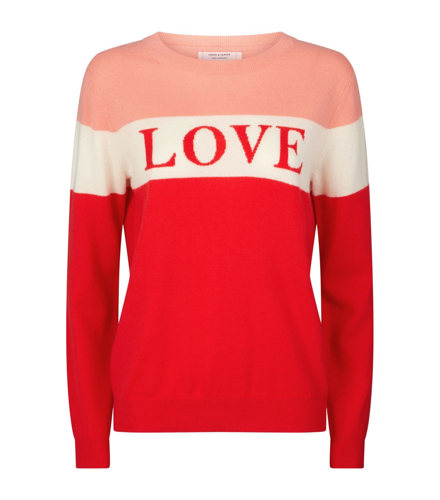 Chinti & Parker Cashmere Slogan Sweater In Red | ModeSens