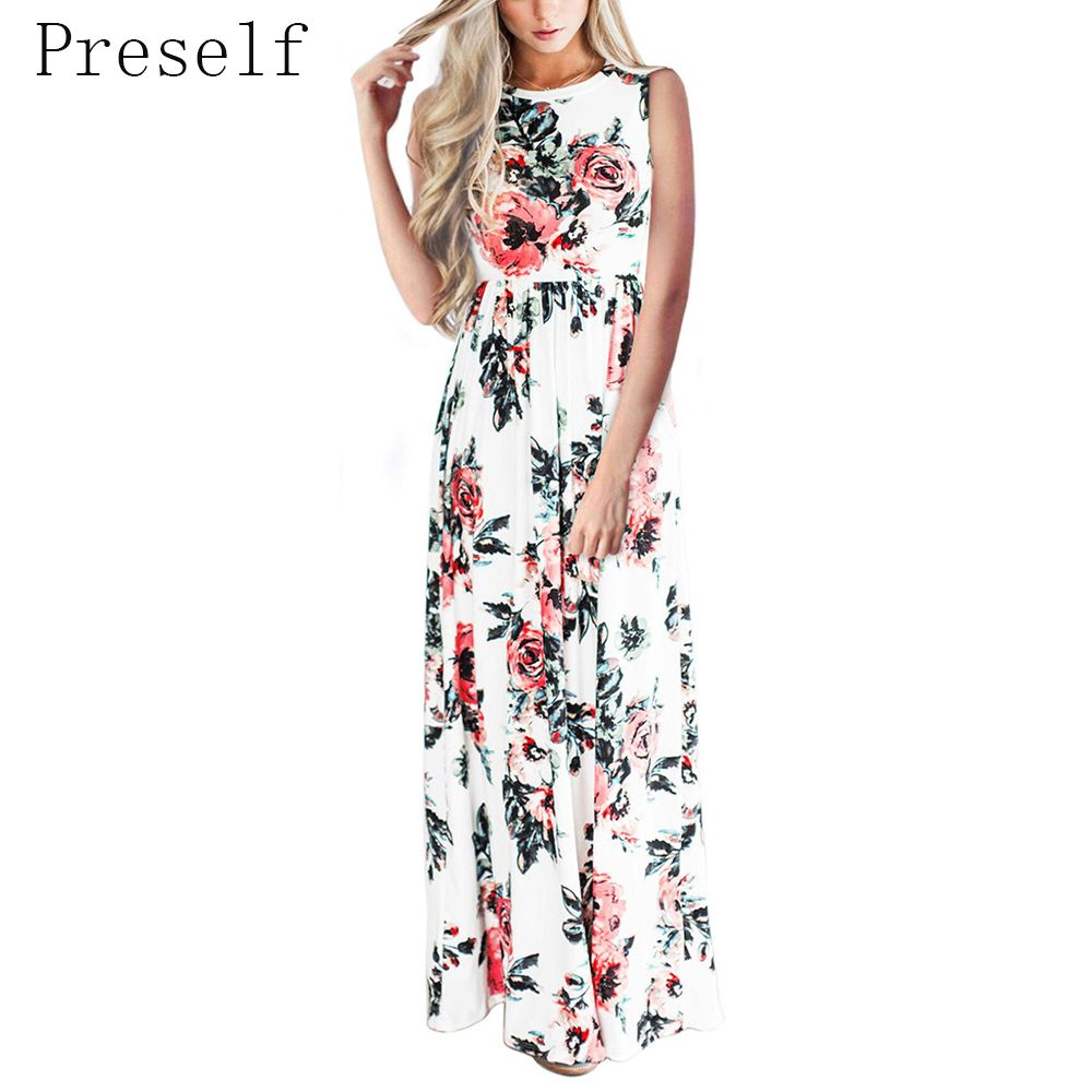 Preself rose floral printed long maxi dress new women oneck empire