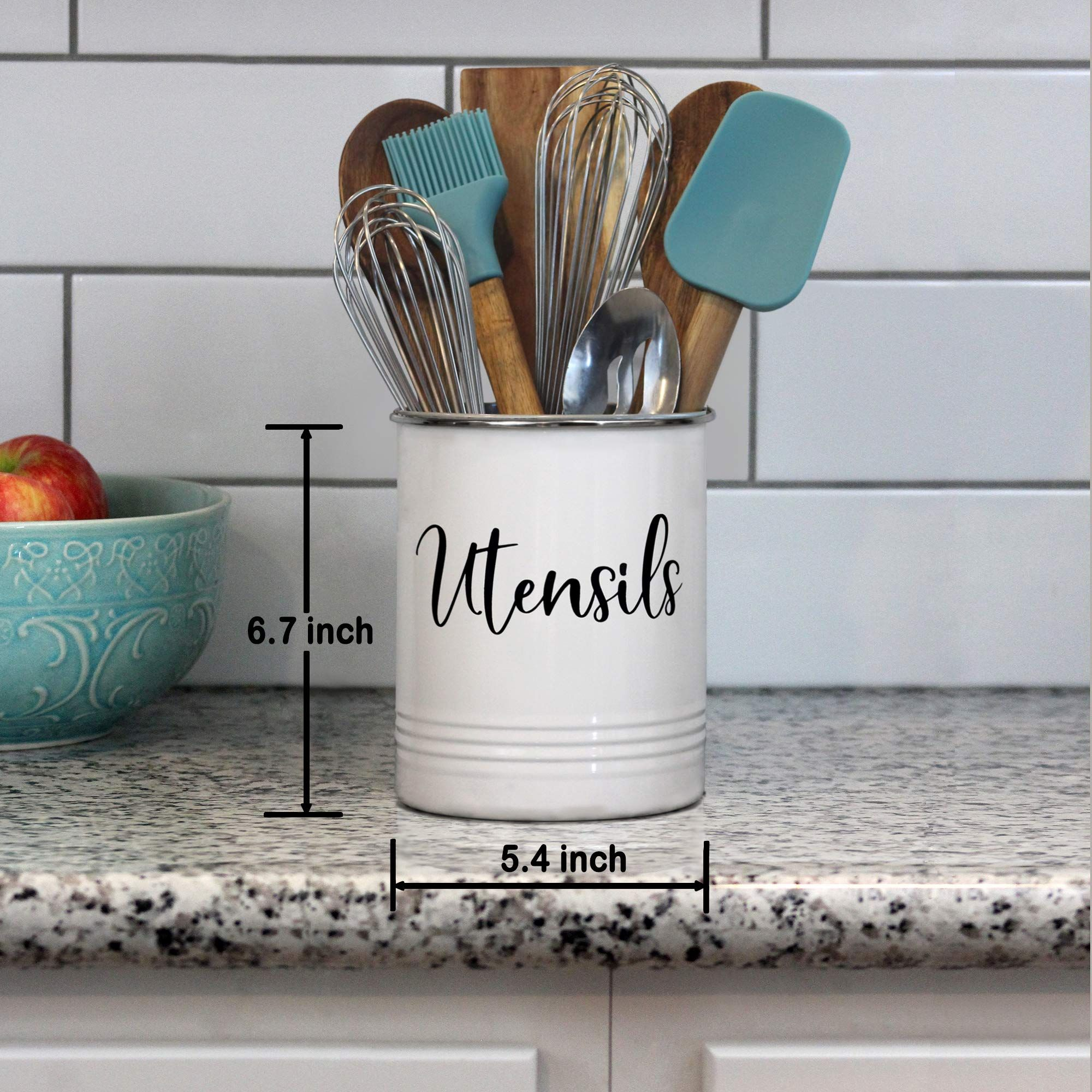 Kitchen Utensil Holder Modern Farmhouse Kitchen Decor Large White And Black Utensil Crock Vin In 2020 With Images Countertop Storage Kitchen Utensil Holder Farmhouse Kitchen Decor