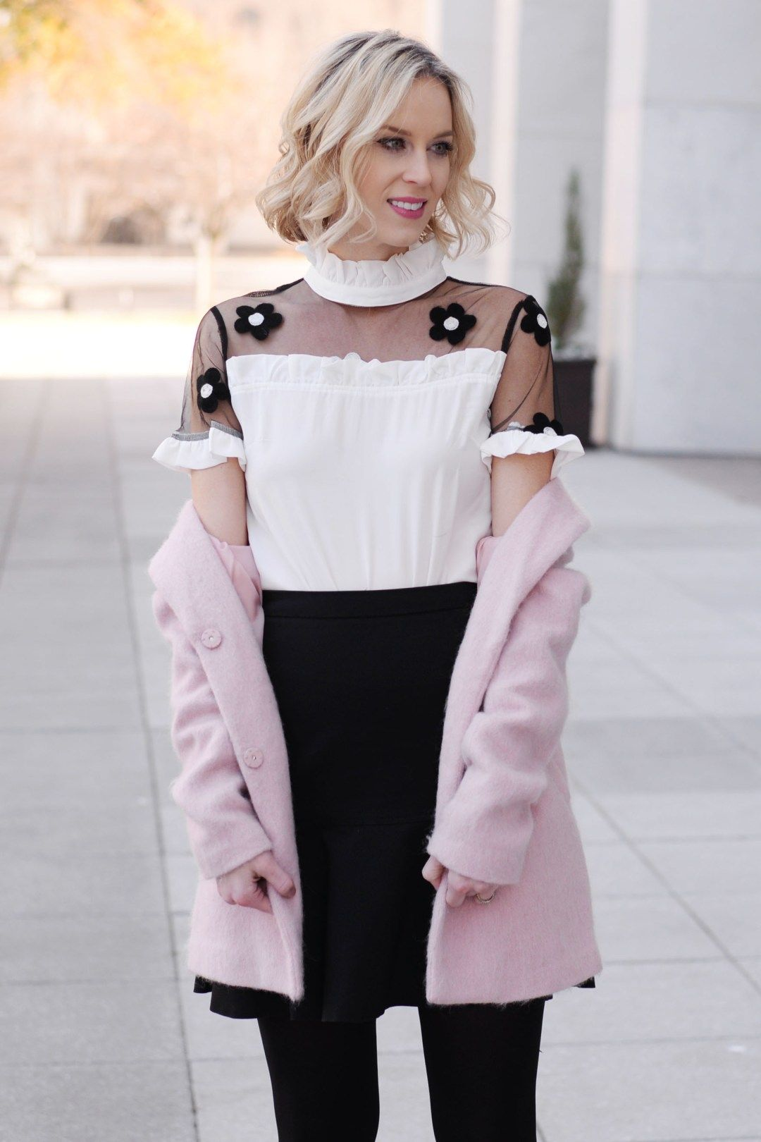 The Cutest Flower Blouse Link Up Pink Outfits Black And Autumn