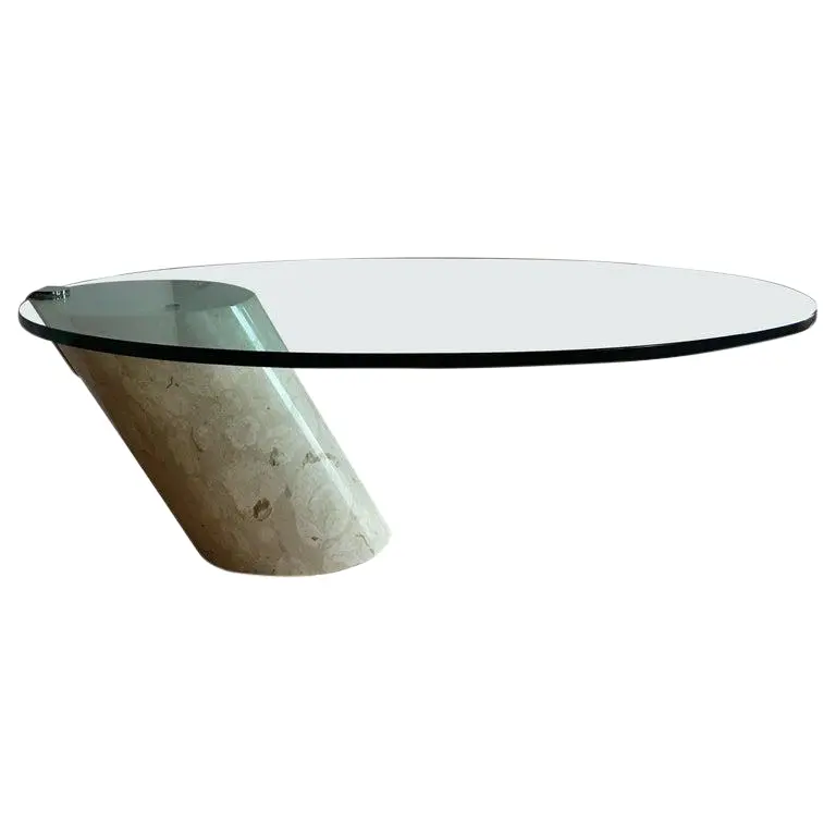 Italian Marble And Oval Glass Cantilevered Coffee Table V 2020 G