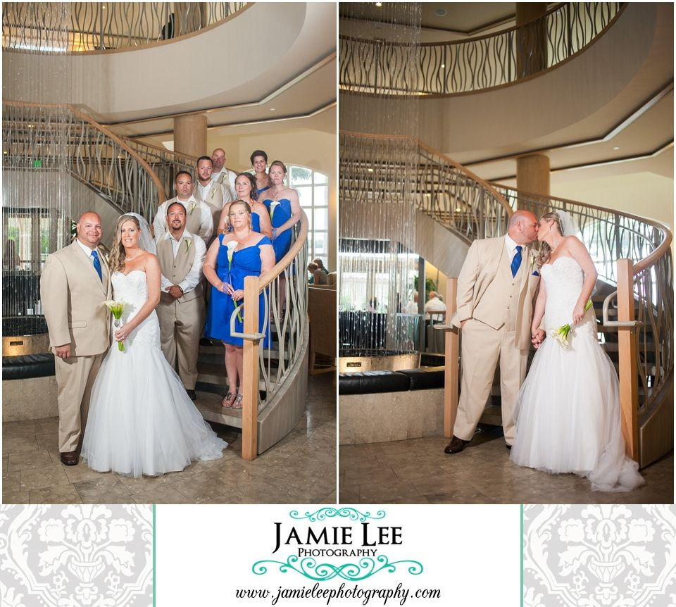 The Westin at Marina Village | Cape Coral Wedding Photographer | Jamie Lee Photography | Bridal Party Posing on Staircase
