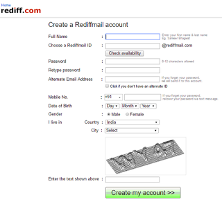 Rediffmail Account Sign Up Signup Accounting Pinterest Login With Email