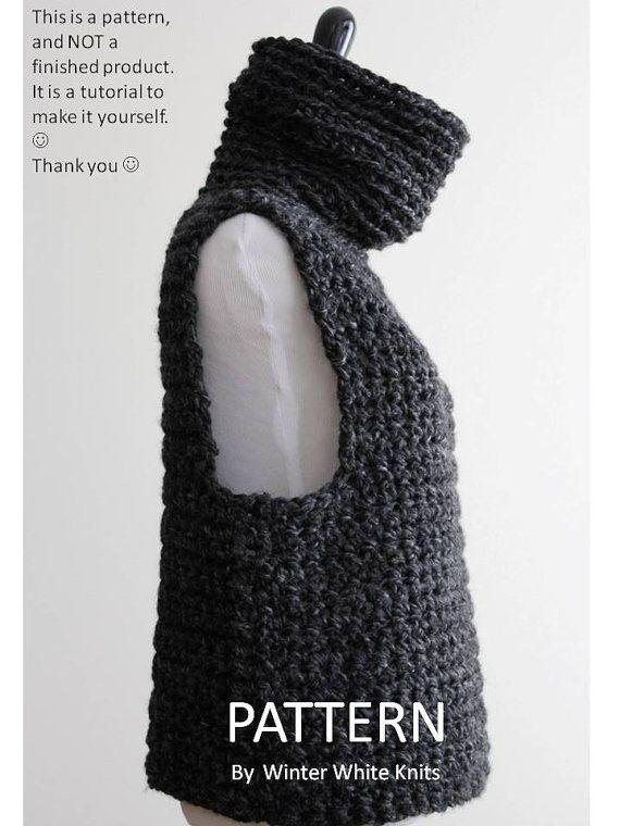 Crochet Sweater Pattern Cowl Vest Pdf Instant Download Crochet