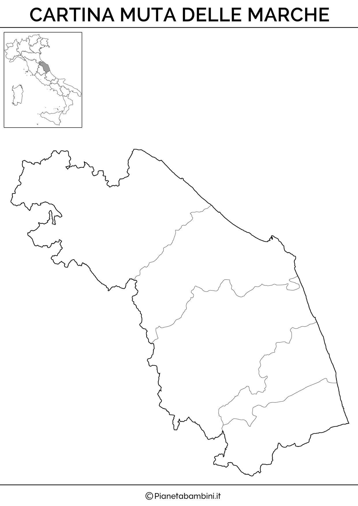 Cartina Geografica Delle Marche.Cartina Muta Fisica E Politica Delle Marche Da Stampare L