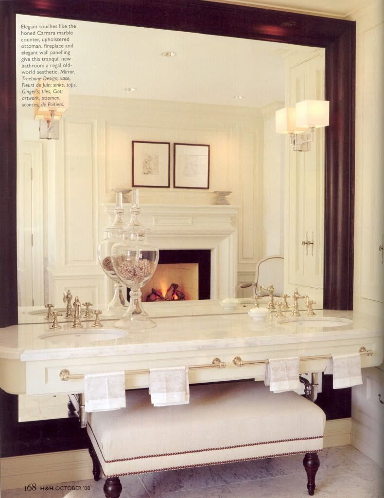 Sconces In Mirrors I Love When Light Fixtures Are Embedded In A Large Vanity Mirror So Glam And It Really Creates Home Beautiful Bathrooms Interior Design