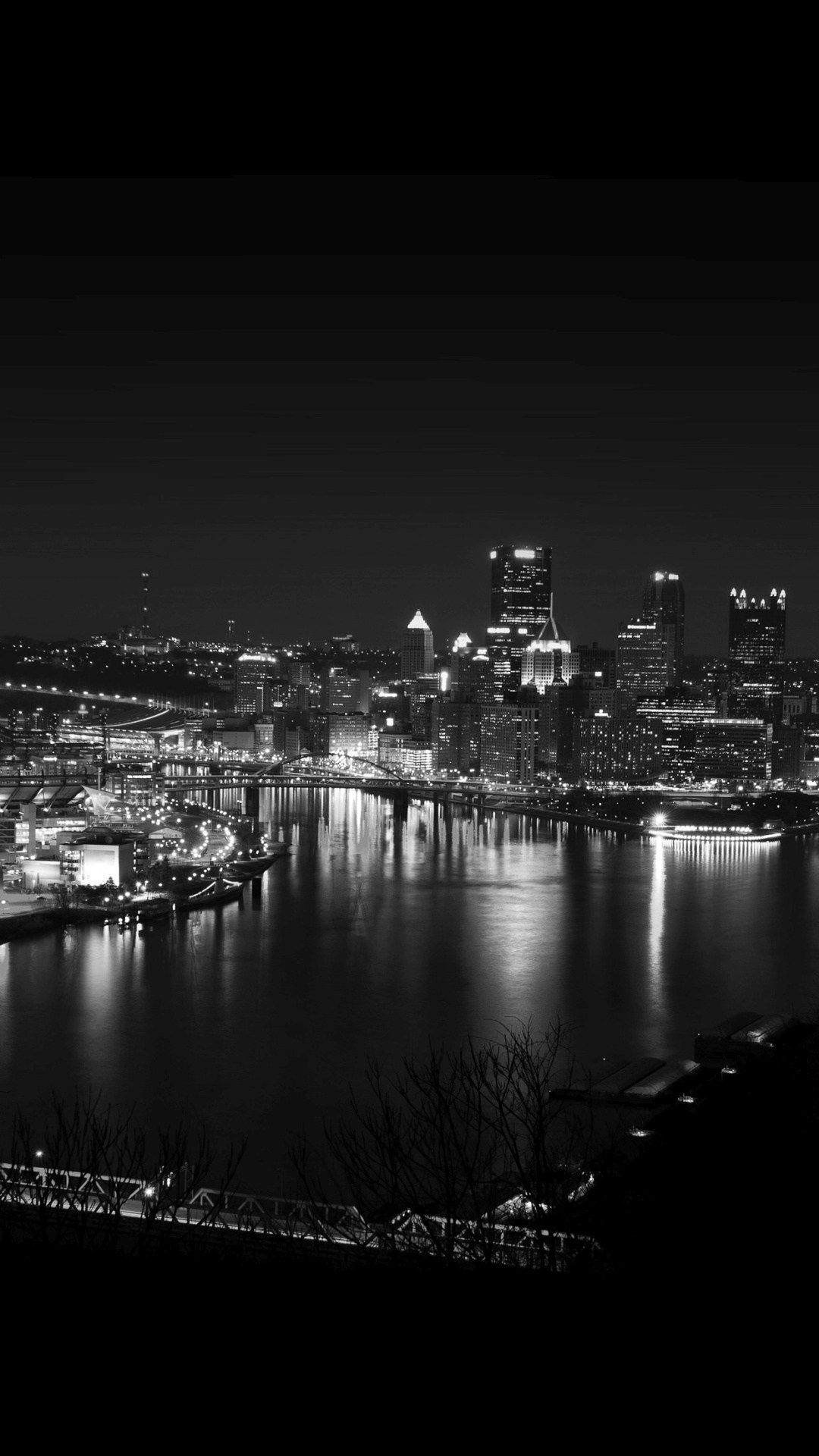 Pittsburgh Skyline Lake City Night IPhone 6 HD Wallpaper
