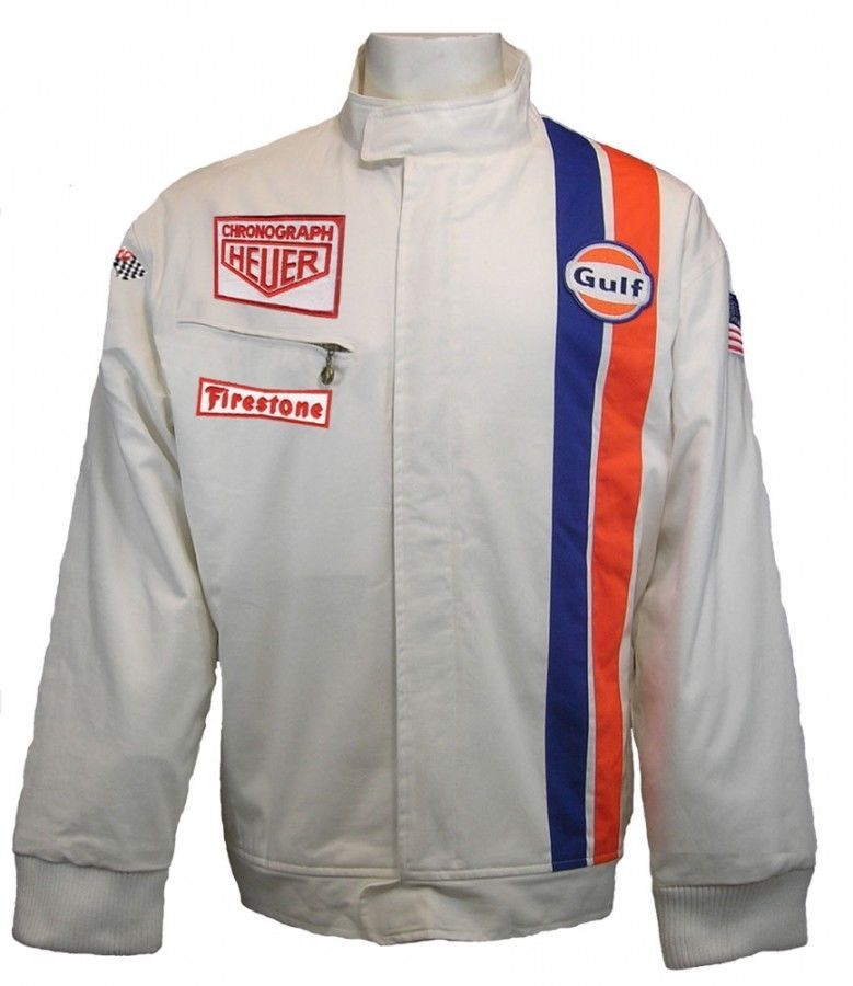 efaa97113 Details about Gulf Le Mans White Racing Jacket | Shopping | Jackets ...