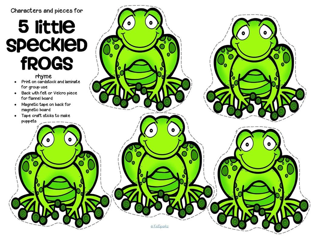 free characters and pieces for 5 little speckled frogs rhyme in