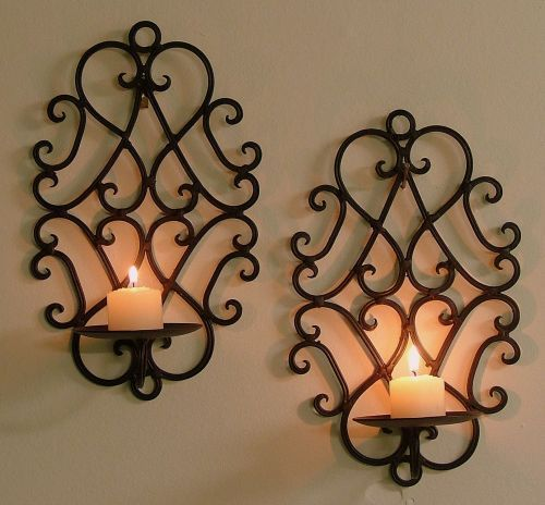 Pair Of Wrought Iron Candle Holders Rustic Wall Decor Heart Sconces Brown Cw05