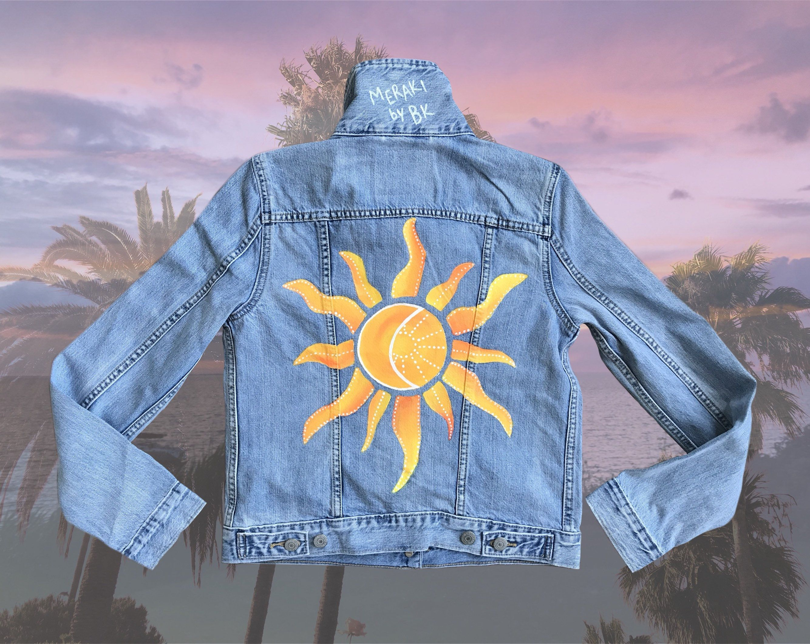 Sun Moon Hand Painted Denim Jacket Etsy Diy Jacket Diy Denim Jacket Denim Art [ 2124 x 2668 Pixel ]