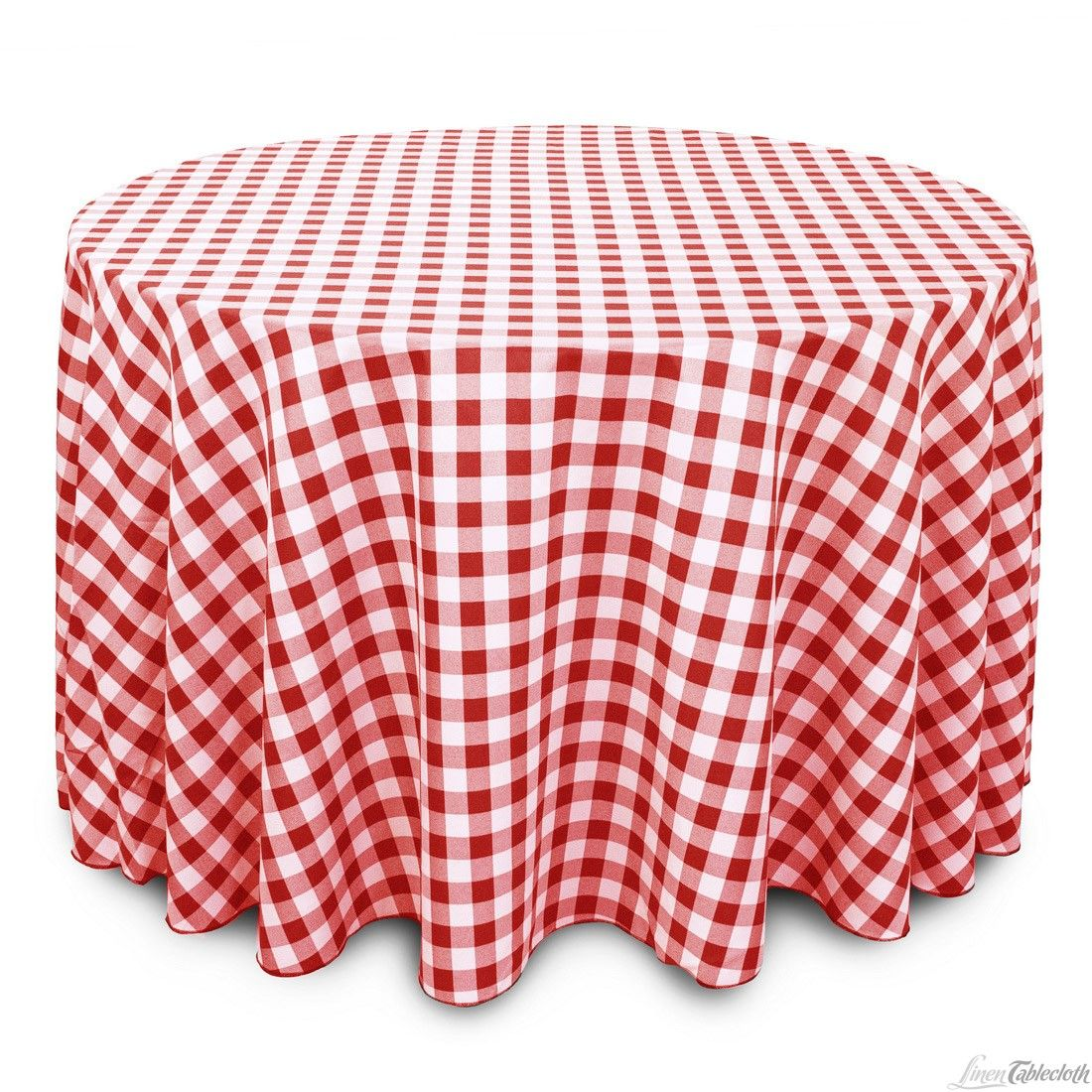 Buy 108 Inch Round Red White Checkered Tablecloth For Weddings