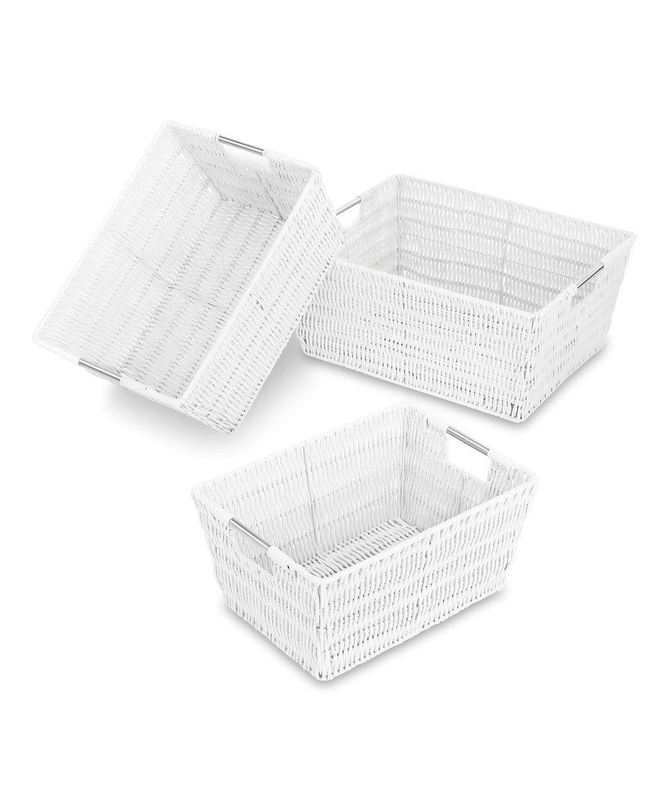 Take a look at this Whitmor White Rattique Storage Basket Set today!