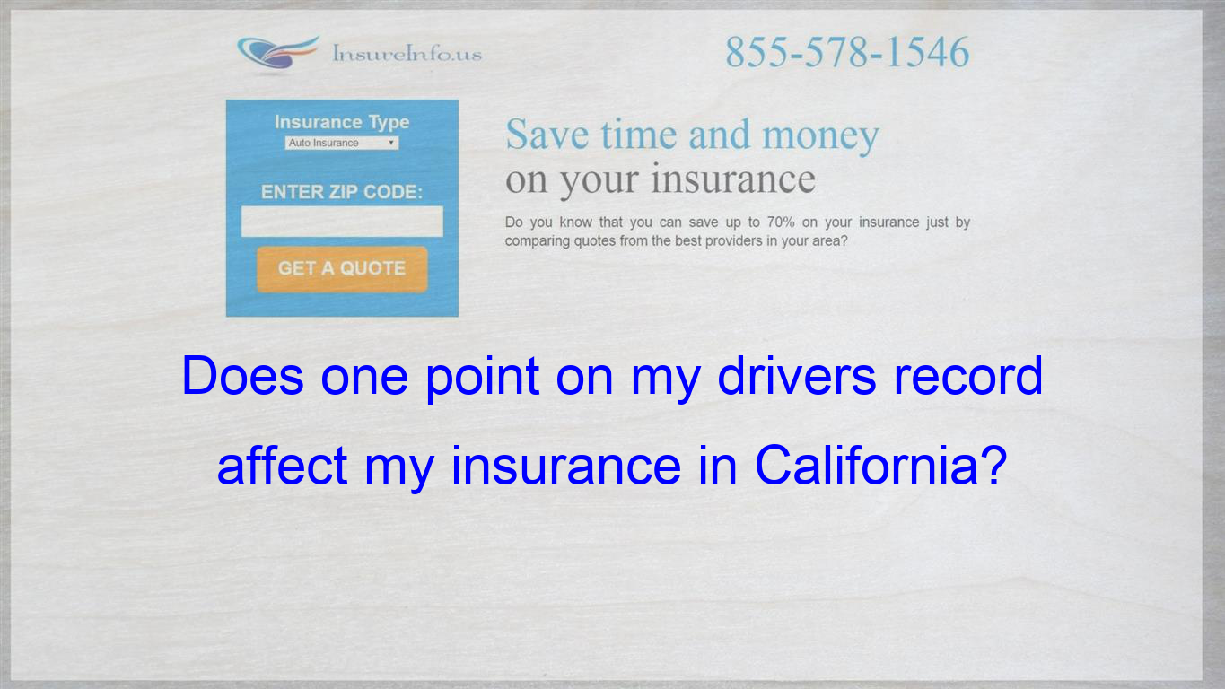 I Read Somewhere That One Point Doesn T Affect Your Insurance In