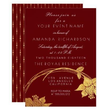Burgundy Maroon Champaign Gold Floral Red Card