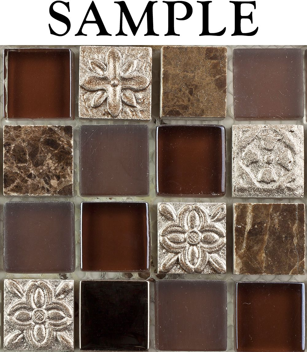 SAMPLE Kitchen Bathroom FUSION SHAGBARK 1X1 MARBLE GLASS TILE ...