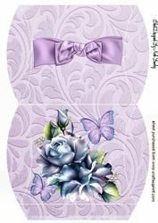 Blue Roses With Lilac Bow And Butterflies Pillow Box
