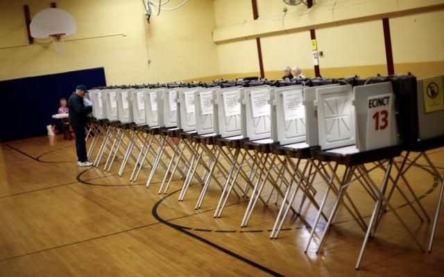The Nash School sits near empty for polling in Weymouth's 13th Precinct on Tuesday morning, April 12, 2016, for the special election primary. — Greg Derr/The Patriot Ledger