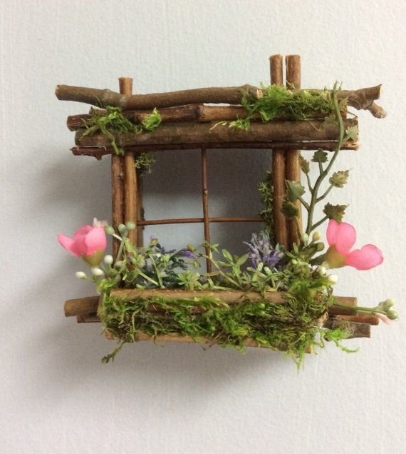 Mini Fairy Window 2 1/2 inch by 2 1/2 inch size, add Fairy Shoes see below option~ Handcrafted by Olive ~ always one of a kind #miniaturefurniture