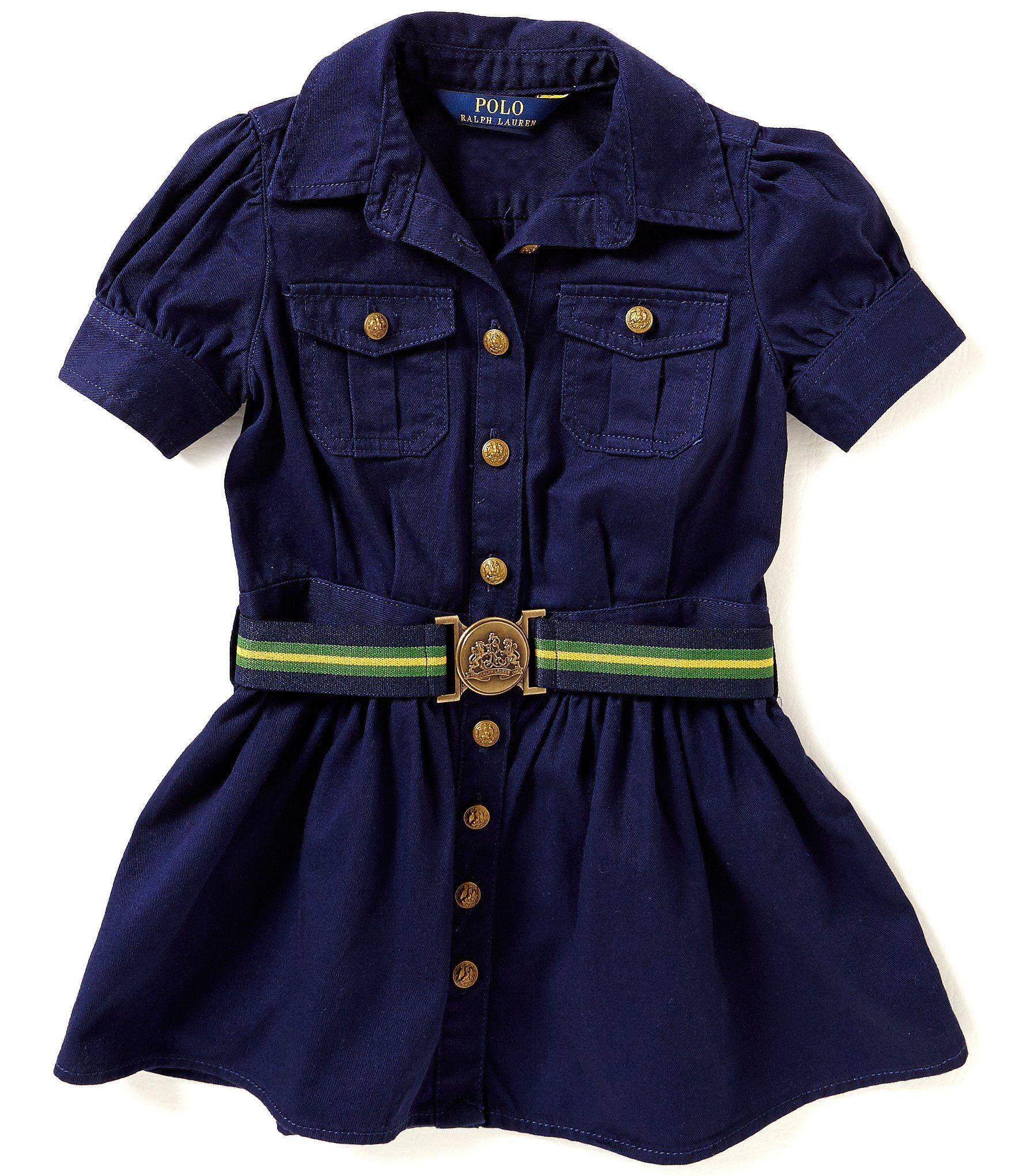 c44a810bb7d2 Ralph Lauren Childrenswear Little Girls 2T-6X Button-Front Belted Shirt  Dress