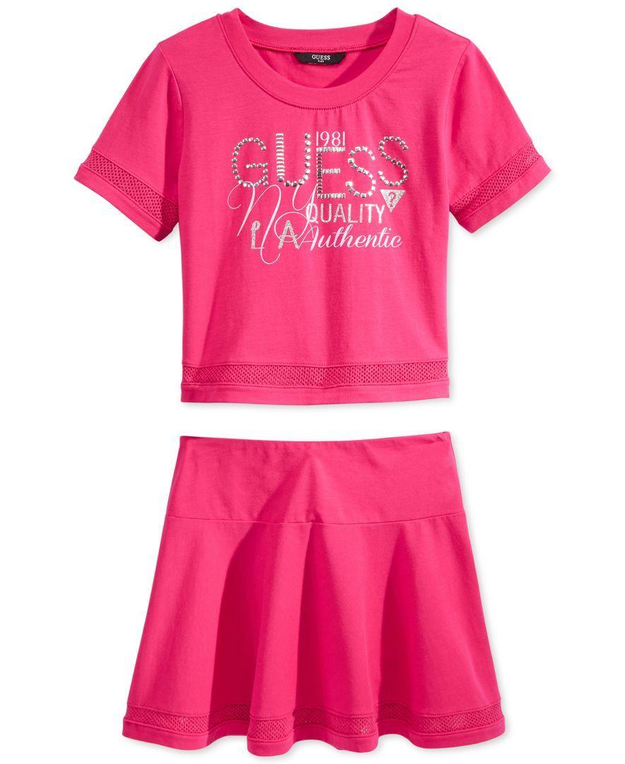 Guess Girls' 2-Piece Active T-Shirt & Skirt Set