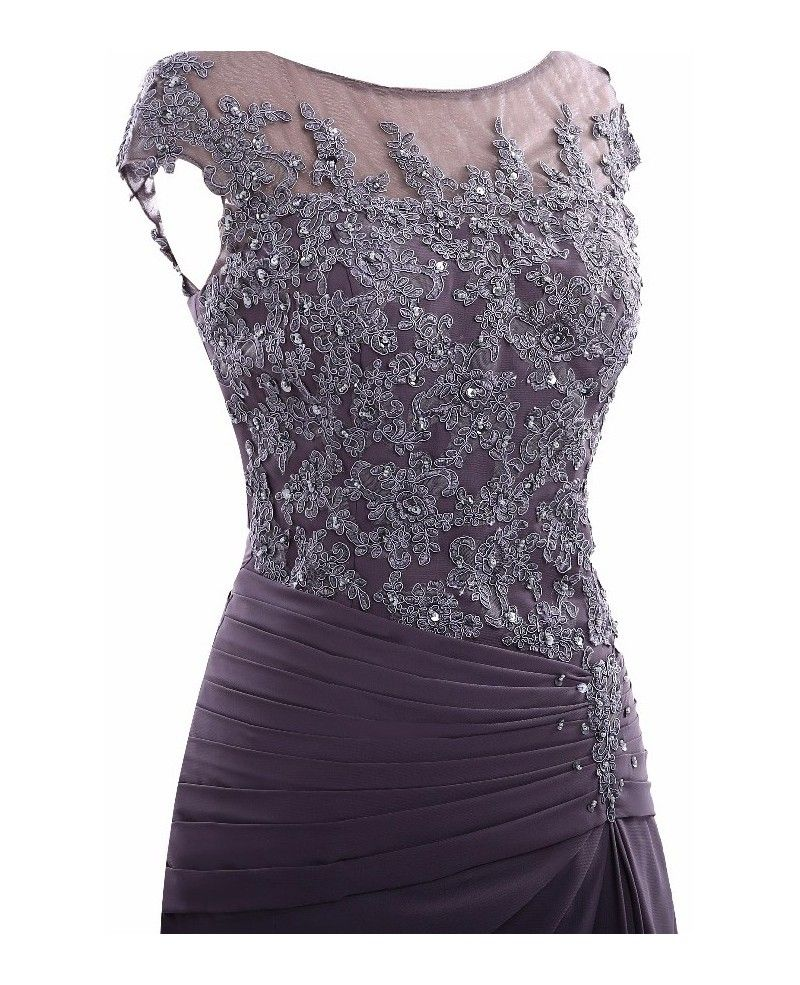 66dd7a3235c Purple Knee Length Lace Mother Of The Bride Dress With Sleeves Custom Size