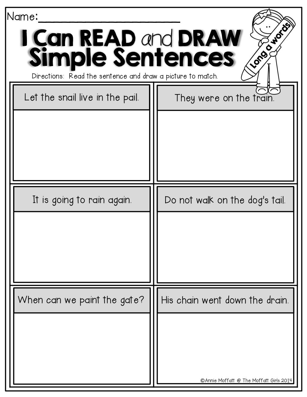 I Can Read Simple Sentences No Prep Sampler Simple Sentences Kindergarten Reading Sentences [ 1325 x 1024 Pixel ]