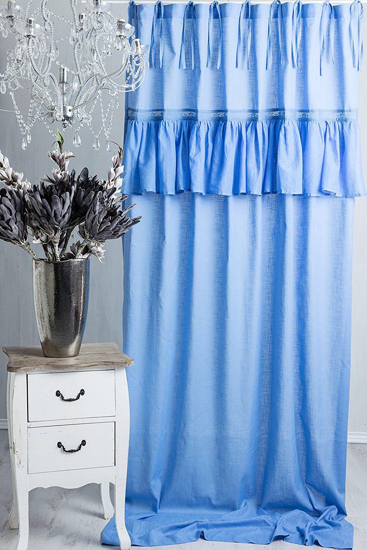 Sofia Blau Pastell Vorhang Gardine mit Volant ca. 145cmx250cm ...