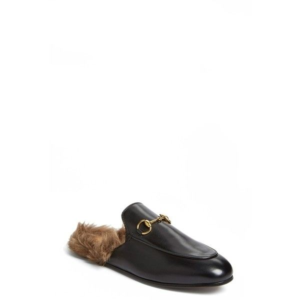 2e1a48ddb Gucci 'Princetown' Slip-On Loafer ($995) ❤ liked on Polyvore featuring shoes,  loafers, fur lined shoes, loafer shoes, horsebit loafers, gucci loafers and  ...