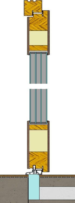 Photo of Vertikalt snitt gjennom tre ytterdører produsert av …- Przekrój pi …