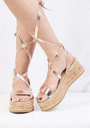 b26cad569811 Lace Up Braided Cork Wedge Flat Espadrille Sandals Rose Gold ...