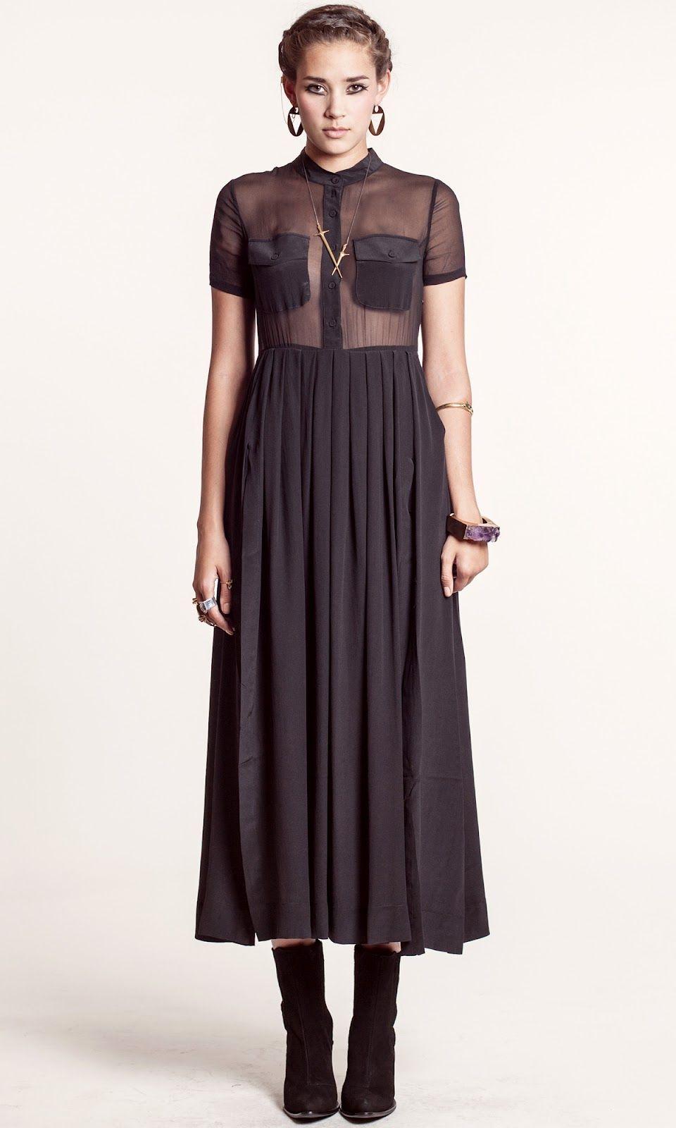 TBA Black Sheer Maxi Dress.  Pocket Boob Coverage.