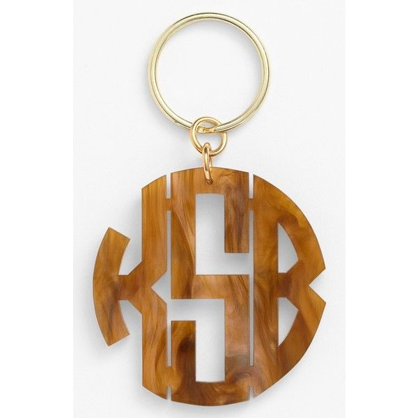 Women's Moon And Lola Personalized Monogram Key Chain ($34) ❤ liked on Polyvore featuring accessories, tigers eye, fob key chain, monogram key chain and moon and lola
