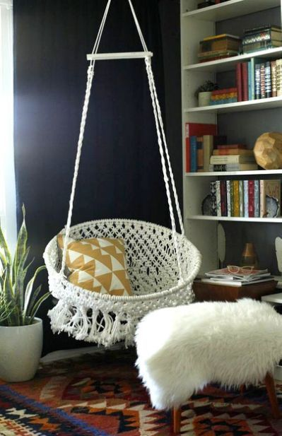 8 DIY Hanging Chairs You Need in decor Pinterest Hanging chair